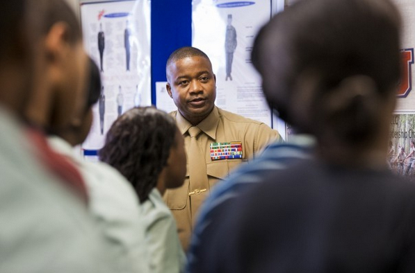JROTC instructor talks to students in impoverished Florida panhandle community