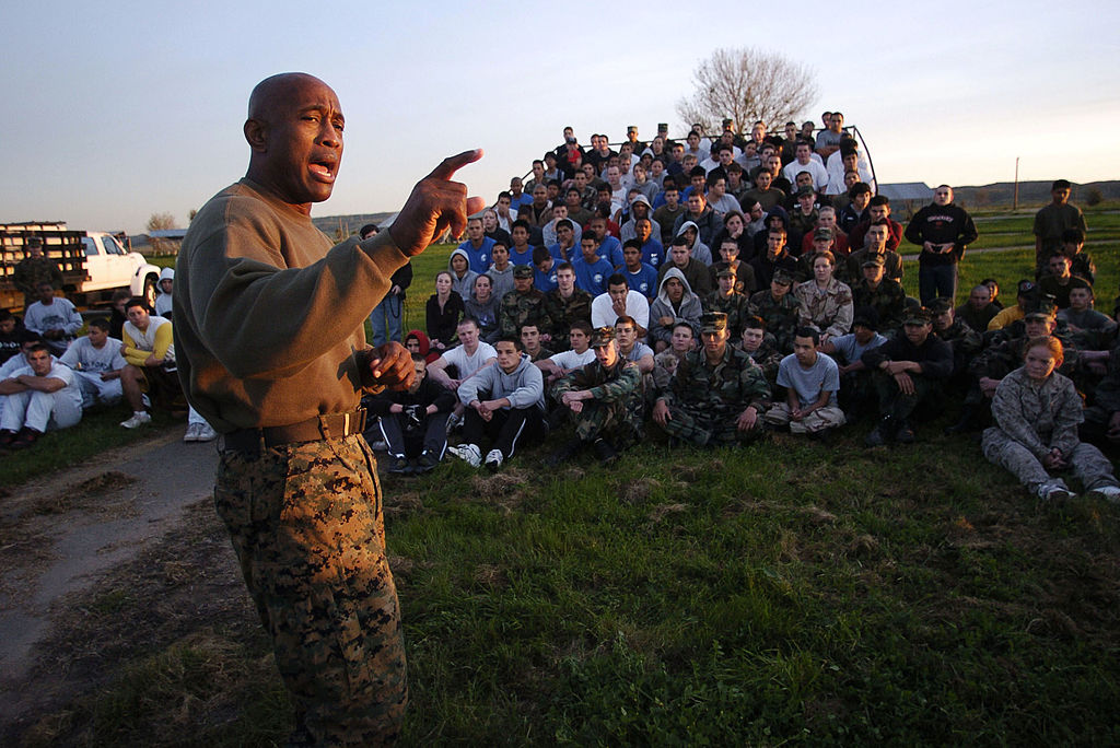 240 High school students attend a two-day challenge designed to heighten Marine Corps awareness. Sandy Huffaker / Getty Images
